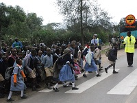 Children are pedestrians in Nairobi.